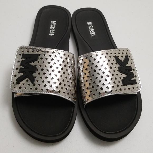 ea90ff8fa752 Michael Kors Flat Sandals Lasered Mirror Metallic